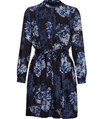 caterina crepe shirt dress korte jurk blauw french connection