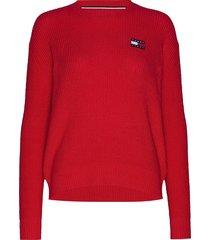 tjw tommy badge sweater stickad tröja röd tommy jeans