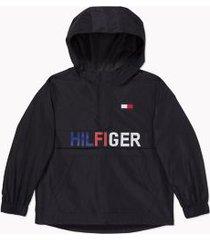 tommy hilfiger boy's adaptive hilfiger lightweight hooded jacket deep black - xs
