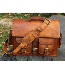 new bag leather laptop unisex messenger shoulder satchel briefcase school new
