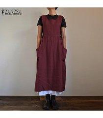 zanzea verano de las mujeres con tiras ocasional del bolsillo de peto holgado vestido de las señoras de los vestidos maxis (no incluye el blanco interior y camisa) -rojo