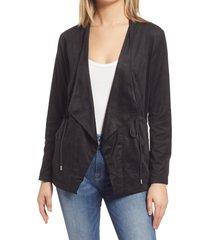 women's blanknyc faux suede drapey jacket, size x-large - black