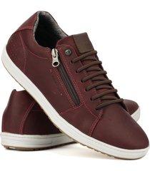 sapatenis couro tchwm shoes masculino moderno leve macio  bordô - kanui
