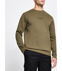river island mens khaki slim fit long sleeve sweatshirt