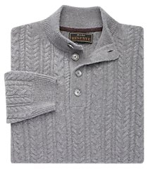 reserve collection wool blend mock neck cable knit men's sweater - big & tall clearance
