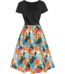 flower print raglan sleeve knotted flare dress