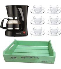 kit 1 cafeteira mondial 110v, 6 xícaras 240ml com pires e 1 bandeja verde