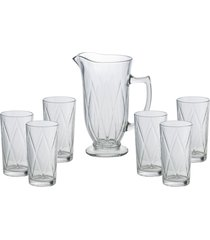 conjunto bon gourmet com 6 copos e 1 jarra vidro triangle incolor - incolor - dafiti