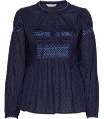 popular smock blouse blouse lange mouwen blauw odd molly