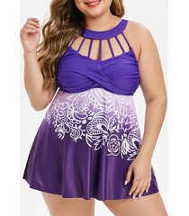 ruched printed strappy cut out plus size tankini swimsuit
