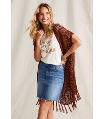 maurices womens open stitch fringe trim cardigan red