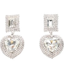 alessandra rich crystal heart with square clip earrings