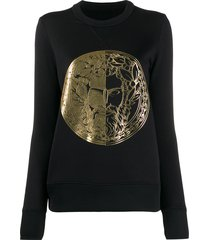 versace jeans couture fitted metallic print sweatshirt - black