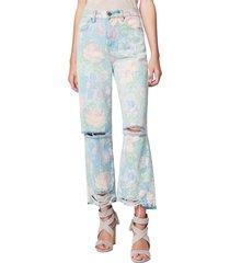 women's blanknyc high waist destroyed flare jeans, size 28 - blue