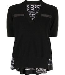 sacai bandana-print short-sleeved top - black