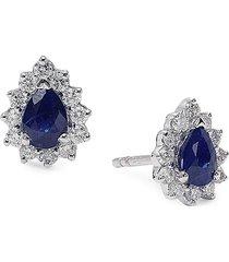 diana m jewels women's 14k white gold, sapphire & 0.16 tcw diamond stud earrings
