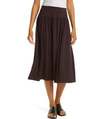 eileen fisher fine jersey flare midi skirt, size large in cassis at nordstrom