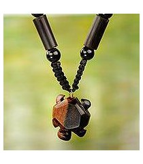 agate and wood beaded pendant necklace, 'tortoise' (ghana)