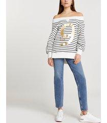 river island womens white 'no. 9' stripe bardot sweatshirt
