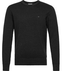 cotton silk c-neck sweater stickad tröja m. rund krage svart calvin klein