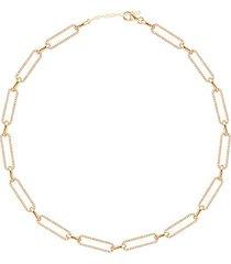 14k gold vermeil & cubic zirconia pavé link gold necklace