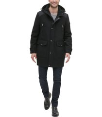 kenneth cole new york men's mixed media hooded coat