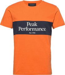 m original seasonal tee blue shadow t-shirts short-sleeved orange peak performance