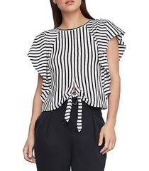 stripe cotton blend cropped top