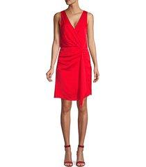 sleeveless faux wrap dress