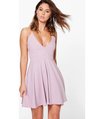 strappy plunge neck skater dress, mauve