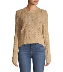 cable-knit cotton-blend sweater