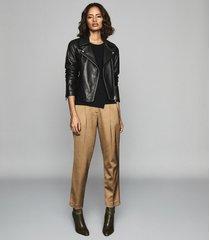 reiss anabel - sheer detail sleeveless top in black, womens, size xxl