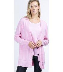 cashmere vest met zakken voor en grofgebreide knooplijst