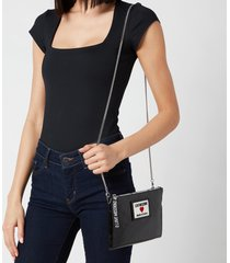 love moschino women's heart logo cross body pouch - black