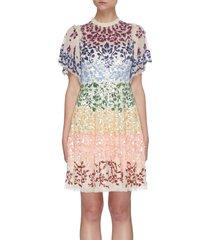'chakra' rainbow sequin embellished short sleeve tulle mini dress