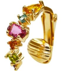 brinco piercing cristais coloridos multi formas banhado a ouro 18k