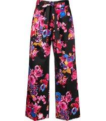 msgm tie-waist floral-print trousers - black