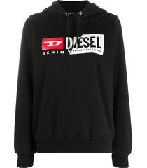 diesel patchwork logo hoodie - black