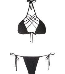 amir slama strappy triangle bikini set - black