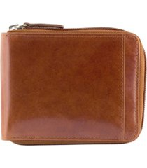mancini casablanca collection men's rfid secure center zippered wallet with removable passcase