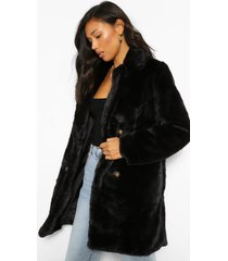 faux fur jas met dubbele knopen, black
