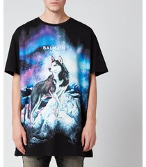 balmain men's oversized printed wolf t-shirt - multi - xl