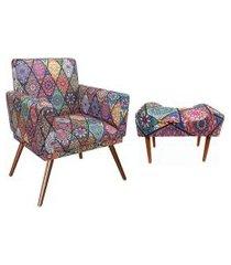 combo poltrona nina e puff retangular pés madeira suede mosaico vermelho - ds móveis