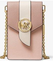 mk borsa a tracolla piccola in pelle saffiano tricolore per smartphone - rosa tenue/crema chiaro/marrone chiaro (rosa) - michael kors