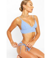 texture gingham triangle bikini, blue