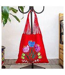 cotton shoulder bag, 'chili red garden' (mexico)