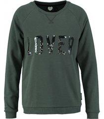 catwalk groene sweater met pailletten