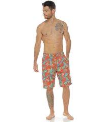 pantaloneta de baño sublimada, naranja para hombre, racketball