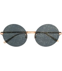 dolce & gabbana eyewear lace detail tinted sunglasses with round frame