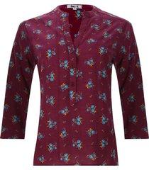 blusa mujer print flores color vino, talla xs